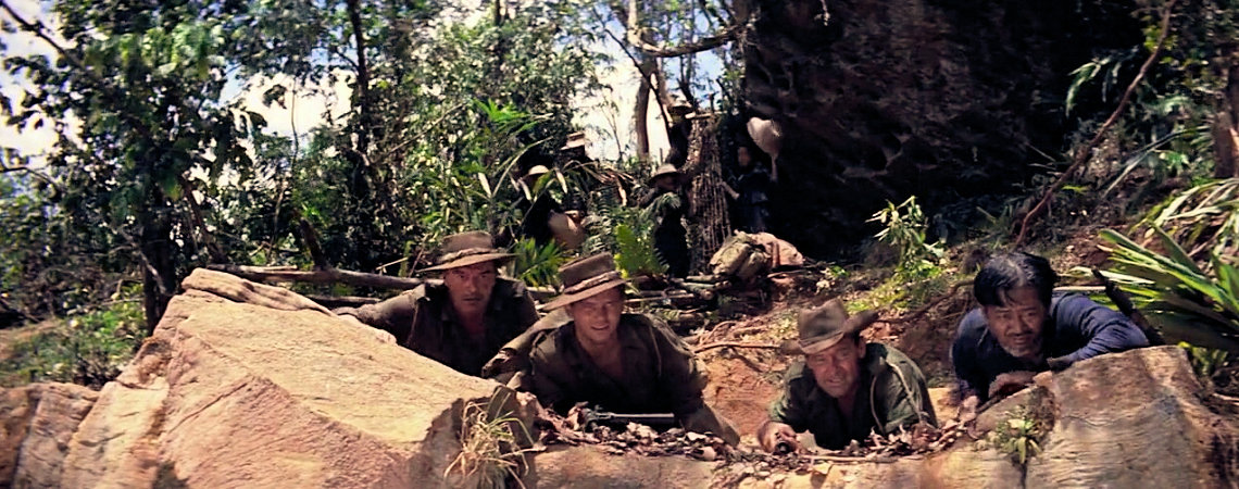 "William Holden, M. R. B. Chakrabandhu, Jack Hawkins, Geoffrey Horne | ""The Bridge on the River Kwai"" (1957)"
