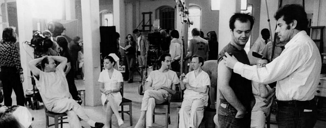 "Jack Nicholson, Christopher Lloyd, Louise Fletcher, Vincent Schiavelli, William Duell, Sydney Lassick, Milos Forman | ""One Flew Over the Cuckoo's Nest"" (1975)"
