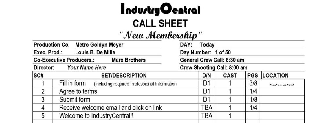 Registration Callsheet