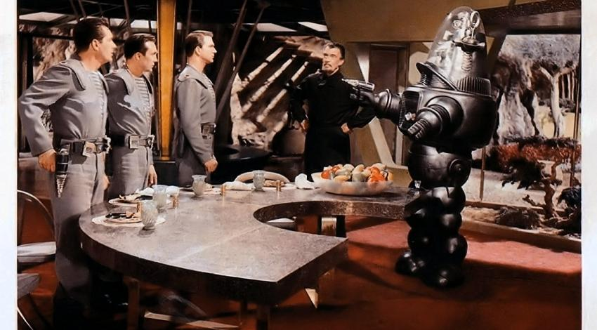 "Leslie Nielsen, Jack Kelly, Walter Pidgeon, Warren Stevens, Robby the Robot | ""Forbidden Planet"" (1956)"