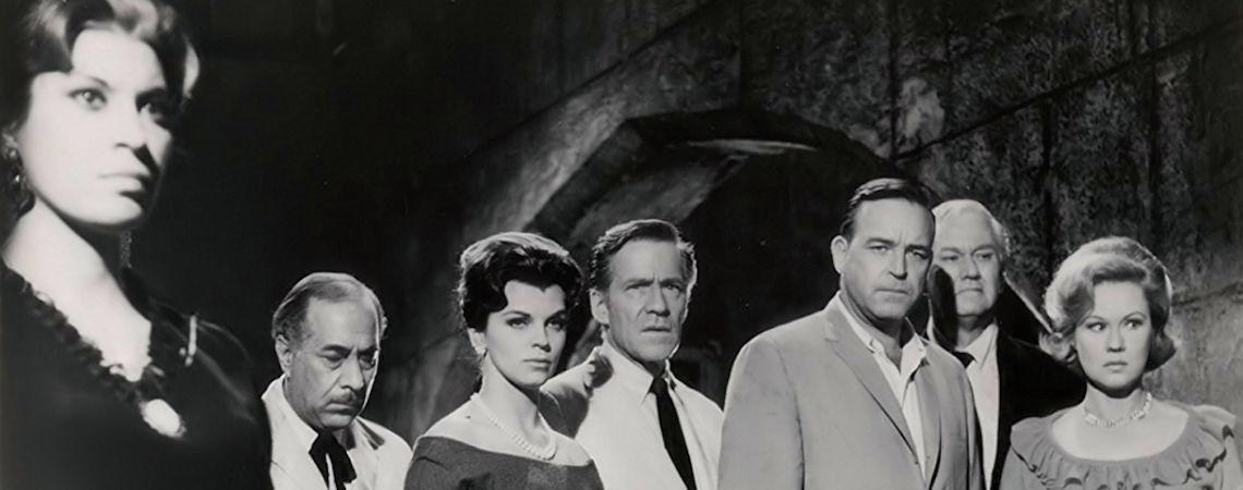 "Shelley Morrison with Scott Brady David Brian, Lisa Gaye, Hugh Marlowe, Virginia Mayo | ""Castle of Evil"" (1966)"