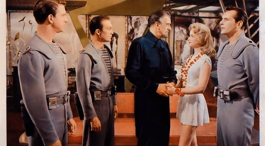 "Leslie Nielsen, Anne Francis, Jack Kelly, Walter Pidgeon, Warren Stevens | ""Forbidden Planet"" (1956)"