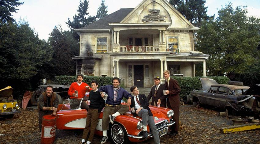 "John Belushi, Tom Hulce, Tim Matheson, Stephen Furst, Bruce McGill, Peter Riegert, James Widdoes | ""Animal House"" (1978) [b]"